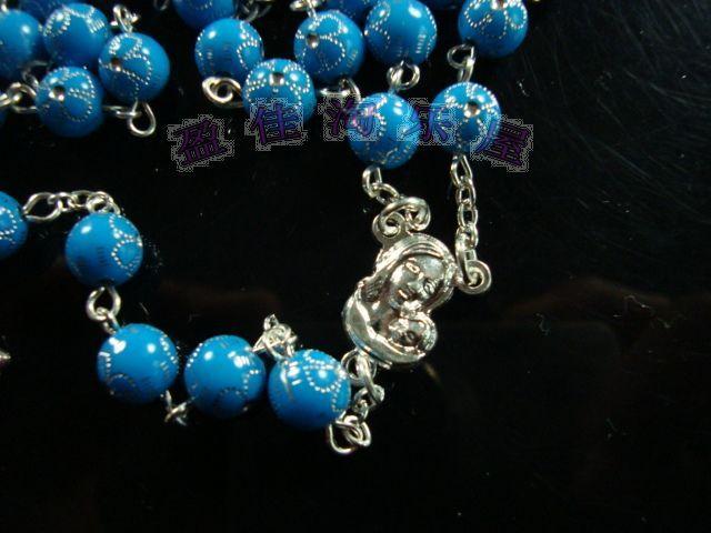 Nouvel arrivé Hommes Beckham Chapelet Perles Collier bleu Chapelet Croix Collier