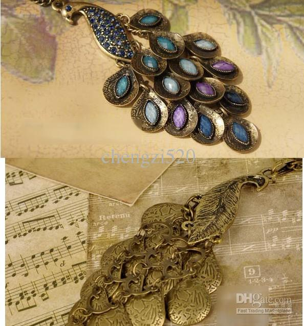 Damska biżuteria Wisiorek Peacock Naszyjnik Przywracanie dawnych sposobów