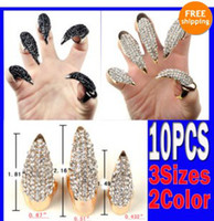 Wholesale Talon False Nails - 10X False Nail Black Crystal Claw Paw Talon Finger RING New Free CN04