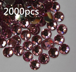 Wholesale Nail Art Acrylic Gems - 2000pcs 4.8mm Pink Flat Back Acrylic Rhinestones Gems For Clothes Shoes For Nail art Scrapbooking