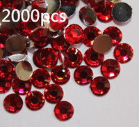 Wholesale Acrylic Red Nails - 2000pcs 4.8mm Red Flat Back Acrylic Rhinestones Gems For Nail art Scrapbooking Sun glasses