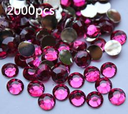 Flat Back Gems Australia - 2000pcs 4.8mm 3D Fuchsia Flat Back Acrylic Rhinestones Gems For nail art Diy craftt