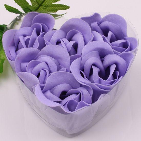 12 상자 보라색 장식 장미 버드 꽃잎 비누 꽃 (하트 모양의 상자에 6pcs) 결혼식 호의