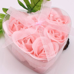 Wholesale Girls Birthday Card - 12 Boxes 6pcs Pink Decorative Rose Bud Petal Soap Flower Wedding Favor in Heart-shaped Box