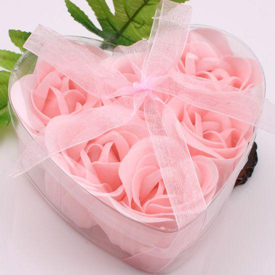12 Boxes 6pcs Pink Decorative Rose Bud Petal Soap Flower Wedding Favor in Heart-shaped Box