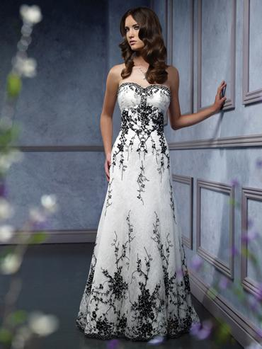 white wedding dresses with black accents | Wedding