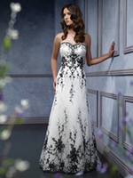 Wholesale Champagne Accent Wedding Dress - sweetheart black embroidery accented a line black and white wedding dress #WD1346