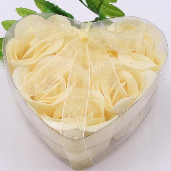 12 상자 보라색 장식 장미 버드 꽃잎 비누 꽃 하트 모양의 상자에  결혼식 호의
