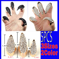 Wholesale Talon False Nails - Brand New Wholesale lots 5X False Nail Black Crystal Claw Paw Talon Finger RING Free Shipping[VR84-85]