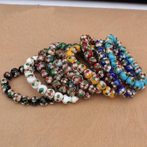 Promociones de abalorios pulseras del estiramiento del estilo de perlas de 12 mm Cloisonne china de la pulsera 50pcs de la joyería / lot