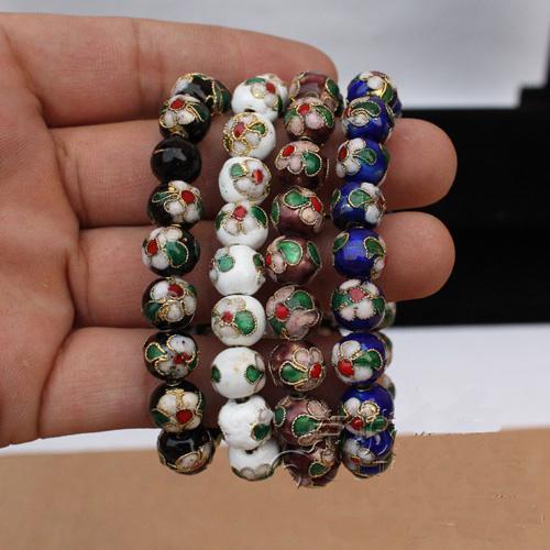 Promocje Bransoletki Bransoletki Stretch Bransoletka Chińska Styl Cloisonne 12mm Koraliki Biżuteria 50 sztuk / partia