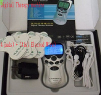 Wholesale Electrode Tens Wires - 60pcs lot health Tens Acupuncture Digital Therapy Machine Digital massage+4pads+4-way Electrode wire