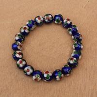 ingrosso braccialetti di stirata fatti a mano-12mm smalto colorato perline bracciali cinesi fatti a mano cloisonne stretch bracciale gioielli delle donne