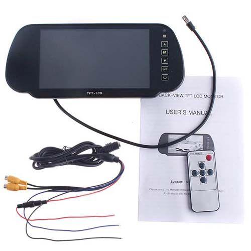 "7"" TFT LCD Car Rear View Mirror Monitor 2CH For Reversing Camera Kit & DVD VCR"