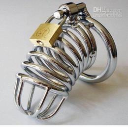 schwulen fetisch katheter Rabatt Edelstahl Keuschheitsgürtel Geräte Cockcages Cock Cage mit Sprengring und Pad Lock