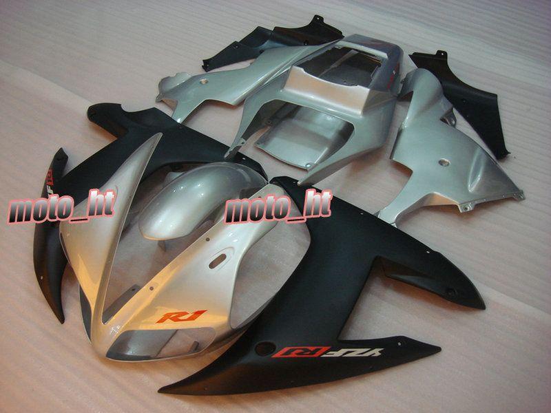 Black Silver Backings voor YZF-R1 2002 2003 YZF R1 YZF1000 02 03 YZFR1 02-03 Fairing Kit R1246