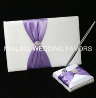 Wholesale Wedding Guest Book Lilac - Minling Wedding Favors,Purple Guest Book ,Sign Pen and Holder -- #97