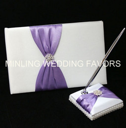 Wholesale Lilac Favors - Minling Wedding Favors,Purple Guest Book ,Sign Pen and Holder -- #97