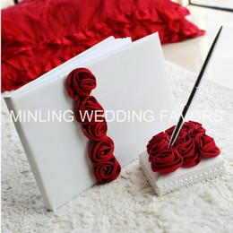 Wholesale Pens Favors - Minling Wedding Favors,Red Flower Guest Book ,Sign Pen and Holder -- #8