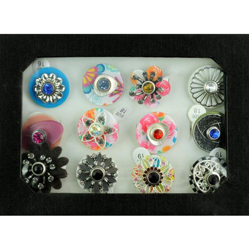 12 stks Snap Sieraden Ringen Gratis Vervanging DIY Making Gemengde Bloemringen Dames Gemengd Maat Wisseltype in Display Box RN604