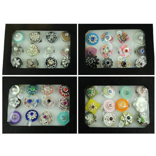 Snap Schmuck Ringe Kostenloser Ersatz DIY machen gemischte Blume Ringe Frauen gemischte Größe ändern Typ in Display-Box RN604