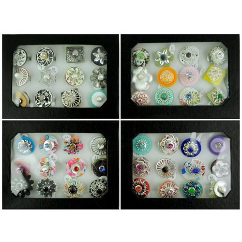 Snap Jewelry rings Free replacement DIY making mixed Flower Rings Women mixed size changing type in display box RN604