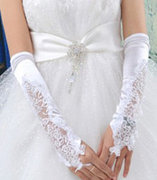 Wholesale Special Designed Gloves - wedding Party Evenning accessories Bridal lace embroidery fingerless long gloves white special design woman ornament wh010