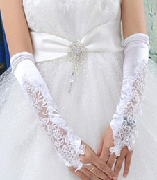 Wholesale Ivory Ornament - wedding Party Evenning accessories Bridal lace embroidery fingerless long gloves white special design woman ornament wh010