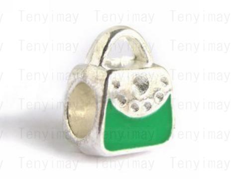 Emalj europeisk pärlor blandad färg silver ton handväska legering pärlor stora hål / parti