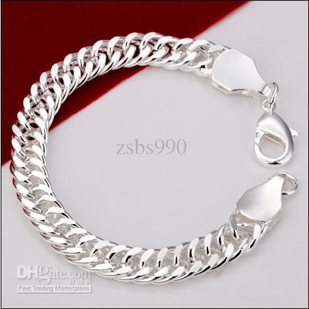Alta qualidade 925 sterling silver banhado a corrente pulseira 10 MMX20CM Moda Masculina Jóias preço de Fábrica frete grátis