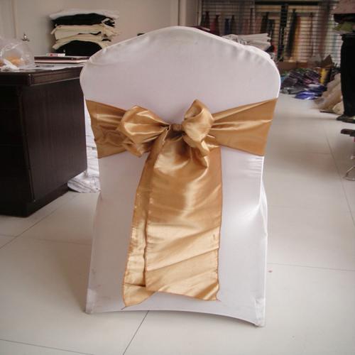 20 * 275cmゴールドタフタチェアサッシ/チェアボウ100ピース結婚式、パーティー、ホテルの装飾のための送料無料