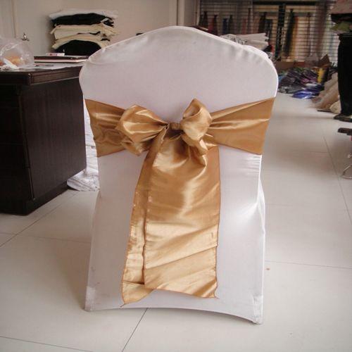 20 * 275cm guld taffeta stol sash / stol båge 100st mycket med gratis frakt för bröllop, fest, hotellinredning