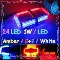 Wholesale Led Amber Mini Light Bar - 2011 New 24 LED Mini Strobe Light Bar ,1W   LED ( Amber   R+B   White 7 Modes ) Emergency Warning