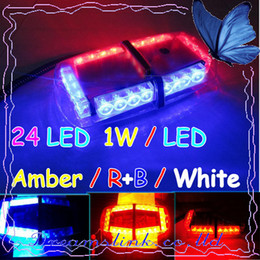 Wholesale Emergency Mini Lights Bar - 2011 New 24 LED Mini Strobe Light Bar ,1W   LED ( Amber   R+B   White 7 Modes ) Emergency Warning