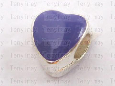 Perles en émail en forme de coeur Perles en alliage grand trou Perles de charme européennes