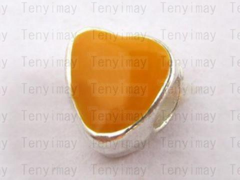Hartvorm Emaille kralen Big Hole Alloy Beads European Charm Beads