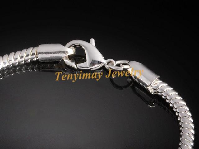 Gratis frakt 25st / silverpläterade ormkedjan Armband med hummerlås för DIY