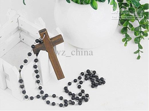 40% rabatt! Crystal Rosary Beads Bra träkors halsband Storbritannien Religiösa halsband 30st / mycket