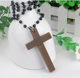 Wholesale Wood Crosses Necklaces - 40% off!crystal rosary beads necklace Good wood NYC cross necklace 50pcs lot