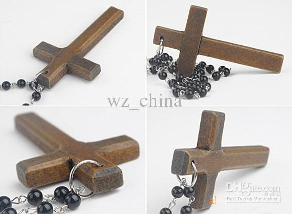 Black Rosary Crystal Beads Necklaces Good Wood NYC Cross Necklace 40% off