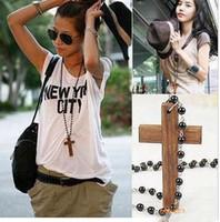 Wholesale Rhinestone Necklace Uk - 40% off!crystal rosary beads Good wood cross necklace UK religious necklace 30pcs lot