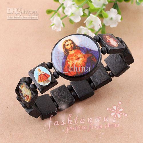 20% Rabatt! Gute Holz Jesus PIECE Schmuck Stretch Armband Religiöse Rosenkranz Freundschaft Armbänder Fabrik Preis Freies Shiipping