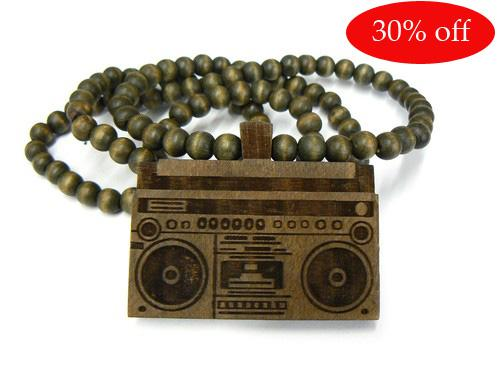 30% off!GOOD WOOD NYC!NATURAL WOODEN BOOMBOX PIECE WOOD NECKLACE