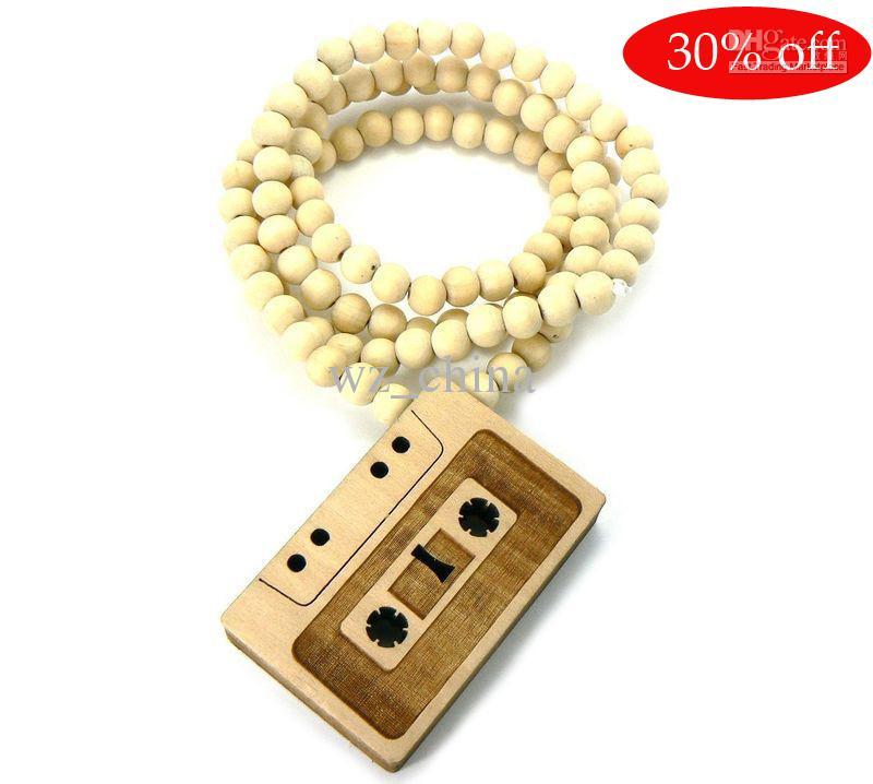 30%オフ!カセットテープ木材ペンダント木製ボールチェーンネックレスロザリオビーズネックレス
