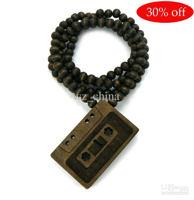 30% off!CASSETTE TAPE Wood Pendant Wooden Ball Chain Necklace Rosary beads necklace