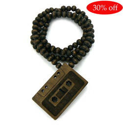 wooden rosary pendant NZ - 30% off!CASSETTE TAPE Good Quality Wood Pendant Wooden Ball Chain Necklace Rosary beads necklace