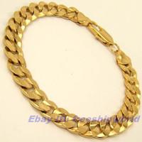 Wholesale Mens Luxury Chain - Elegant Womens mens 14k yellow gold GP heavy bracelet chain yellow gold filled luxury jewelry gift