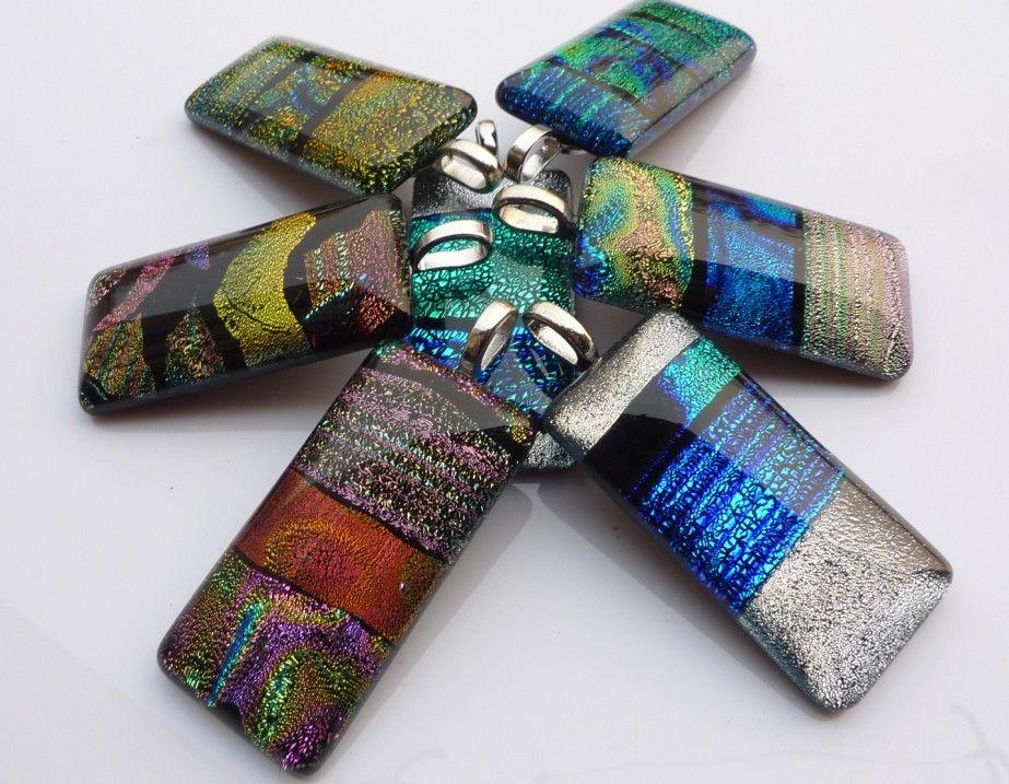 2012新しい到着ダイクロイックガラス手描きペンダント多色ムラノランプワークガラスネックレス