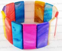 Wholesale Oblong Pearls - Oblong shell bracelets 12pcs lot wholesale tennis bracelets for holiday