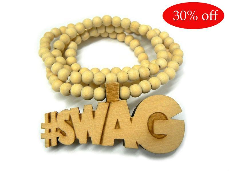 ¡30% de descuento! SWAG Colgante de madera de buena calidad con collar de cadena de bola de madera de 36